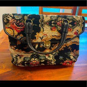 Vintage Needle Point Floral Handbag